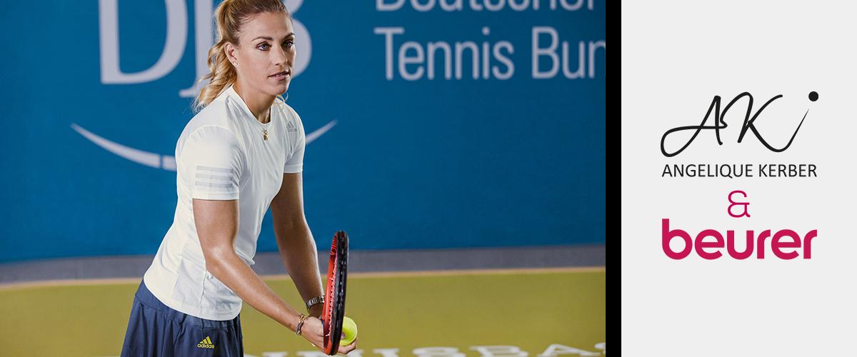 Angelique Kerber steht in einer Tennishalle. Sie macht sich bereit für den Schlag. Neben dem Bild ist das Logo von Angelique Kerber und beurer zu sehen.