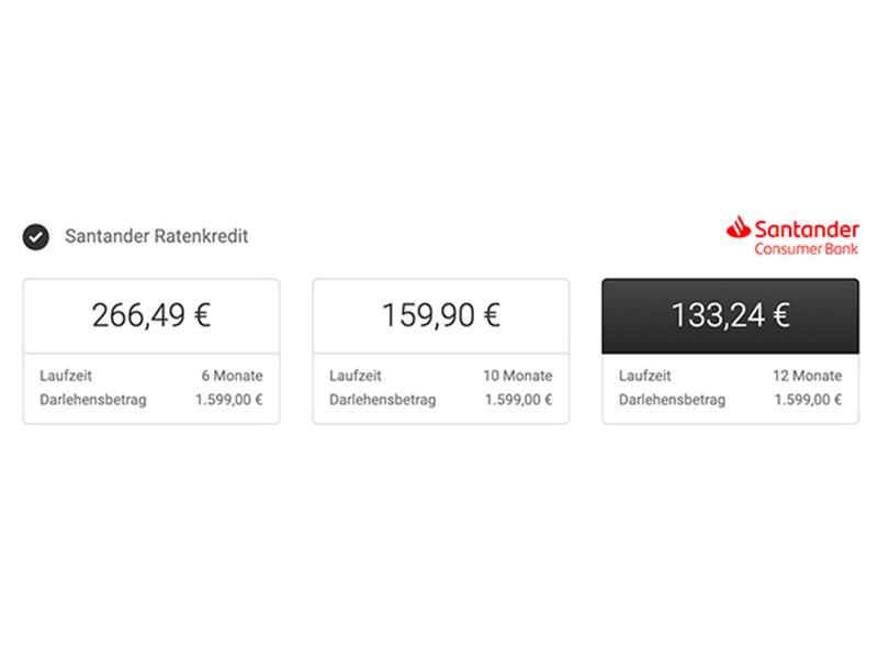 Grafik für die Finanzierung der ANTELOPE Produkte. Screenshot der Möglichkeit über die Santander Ratenzahlung verschiedene Laufzeiten und Darlehensbeträge auszuwählen. Optionen sind folgende: 255,49€ für 6 Monate, 159,90€ für 10 Monate und 133,34€ für 12 Monate Laufzeitlänge. Die letzte Option und somit auch die Option mit dem geringsten Darlehensbetrag ist farblich hervorgehoben.