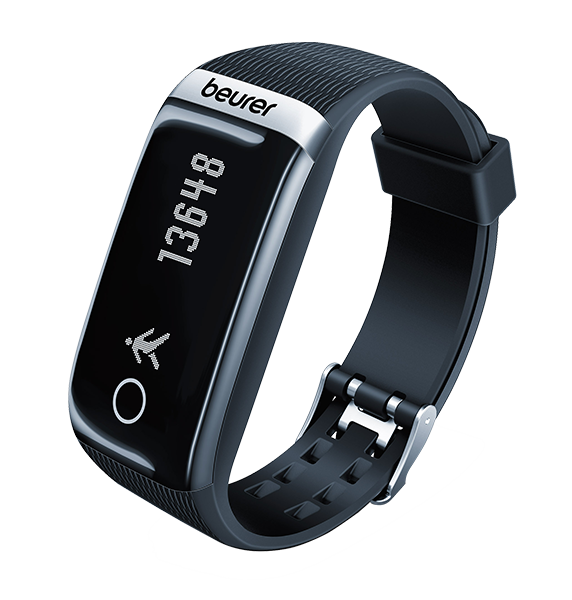 "The picture shows the AS 87 activity sensor from Beurer. The activity sensor looks like a sporty wristwatch with a digital display. The band of the activity sensor is black and a light stripe-like texture can be seen. The display of the activity sensor is rectangular and closes with the edge of the band. The display is black. In the lower part of the display a circle in silver color can be seen, the content of the circle is black. To the right of the circle there is an icon of a person, this person is silver and walks towards the circle. To the right of the icon is the number 13648. The Beurer logo is placed above the display on a silver background. The lettering ""beurer"" is black."