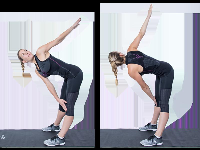 """Auf dem Bild ist eine junge, sportliche Frau zu sehen, die ein EMS Training durchführt. Es ist eine Bewegungsabfolge der EMS Übung """"Butterfly Twist""""zu sehen. Es ist eine Serie bestehend aus zwei Bildern. Die Bewegungsabfolge ist mit einer schwarzen Linie aufgeteilt, die Bilder sind nebeneinander angeordnet. Die Frau trägt die EMS Weste von ANTELOPE und führt die Übung auf einer schwarzen Fitnessmatte aus. Die Frau trägt das ANTELOPE.TANK-TOP, eine schwarze Trainingshose und schwarz-weiße Sneaker. In Abbildung steht die Frau seitlich zur Kamera, hüftbreit in der Mitte der Fitnessmatte. Der Oberkörper ist nach vorne gebeugt, die rechte Hand liegt auf dem linken Knie, der linke Arm ist nach hinten gestreckt und der Oberkörper dreht leicht nach vorne auf. Ihr Blick führt zur linken Hand. In Abbildung 2 ist die gleiche Position auf der anderen Seite zu sehen. Hier führt nun die linke Hand zum rechten Knie. Durch das Aufdrehen in die entgegengesetzte Richtung, ist der Rücken under Hinterkopf der Frau zu sehen. Mittig und auf der Höhe der Schulterblätter des ANTELOPE.TANK-TOPs, ist das ANTELOPE Logo in einem dunklen pink zu sehen."""
