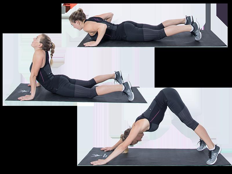 Auf dem Bild ist eine junge, sportliche Frau zu sehen, die ein EMS Training durchführt. Es ist eine Bewegungsabfolge zu sehen. Es ist eine Serie bestehend aus drei Bildern, die untereinander angeordnet sind. Die Frau trägt die EMS Weste von ANTELOPE und führt die Übung auf einer schwarzen Fitnessmatte aus. Am unteren Rand der Fitnessmatte ist das ANTELOPE Logo zu sehen. Die Frau trägt das ANTELOPE.TANK-TOP, eine schwarze Trainingshose und schwarz-weiße Sneaker. In Abbildung 1 liegt die Frau auf dem Bauch, auf der Fitnessmatte, die Beine sind nach hinten ausgestreckt. Die Füße sind aufgestellt, sowie auch die Hände. Die Arme sind dabei angewinkelt, liegen am Körper an und die Ellenbogen zeigen Richtung Decke. Ihr Blick ist zur matte ausgerechnet. In der Abbildung ist der Oberkörper angehoben, ohne die Fitnessmatte zu berühren. Die Arme stützen den Oberkörper vom Boden ab und sind dabei gestreckt. Der Kopf ist leicht überstreckt und der Blick zeigt Richtung Decke. In Abbildung 3 ist die Frau im herabschauendem Hund zu sehen. Die Arme und Beine sind gestreckt, während die Fersen versuchen die Matte zu erreichen. Der Rücken ist gerade und ihr Blick ist Richtung Boden ausgerichtet.