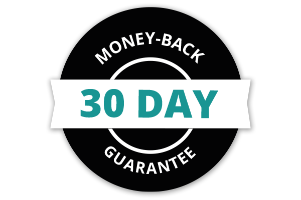Text graphic: 30-day money-back guarantee.