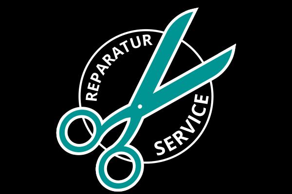 """Reparatur Icon für den Reparatur Service für die ANTELOPE EMS-Produkte. Illustration einer Schere in Türkis auf einem schwarzen Zahnrad. """"Reparatur Service"""" steht in weißen Buchstaben im Hintergrund geschrieben."""