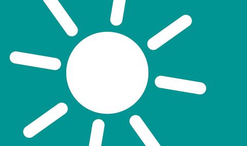 Abbildung einer vereinfachten Sonne in weiß auf einem türkisenen Grunde.